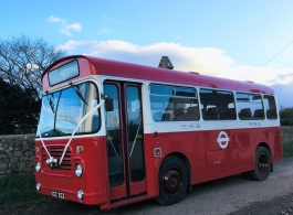 Red single deck vintage Bus for wedding hire in Newport